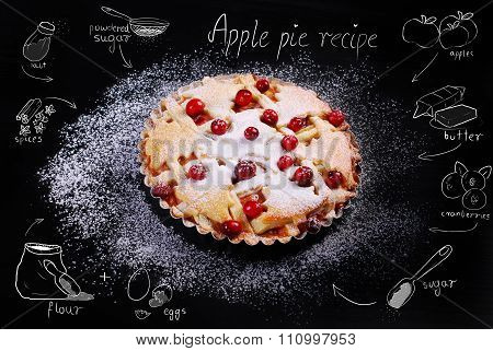 Apple Pie With Cranberry And Drawing Recipe On Black Table