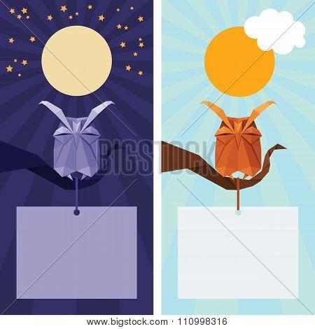 Vector Origami Isolated Animal. Cute Owl