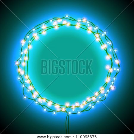 Round frame with garlands and lights