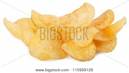 Heap Of Potato Chips Isolated On White