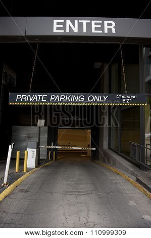 Private Parking Entrance
