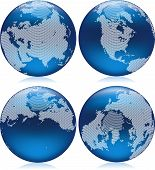 picture of northern hemisphere  - Vector illustration of shiny blue Earth globe with round dots on northern hemisphere - JPG