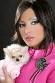 stock photo of barbie  - fashion doll barbie woman with chihuahua dog pink 1980s style - JPG