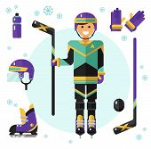 Постер, плакат: Hockey player with stick and equipment
