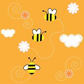stock photo of honey-bee  - The Background seamless  - JPG