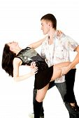 stock photo of woman legs  - Expressive dance of young woman and man isolated on white background - JPG