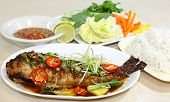 pic of nem  - Catfish baked with oyster sauce and herbs Vietnamese cuisine - JPG