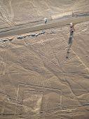 stock photo of geoglyph  - Aerial view of Nazca Lines in Peruvian Desert - JPG