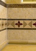 stock photo of ceramic tile  - detail custom tile work bathroom backsplash wall - JPG