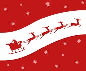 picture of rudolph  - Christmas card of a Silhouette of Santa and his reindeer including Rudolph - JPG