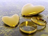 Valentine Hearts,  Wedding Rings, Holiday Love.