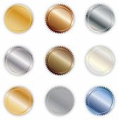 stock photo of bronze silver gold platinum  - A set of nine metallic - JPG