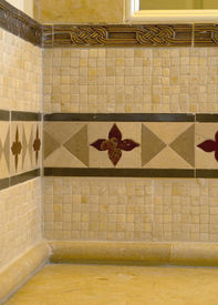 foto of ceramic tile  - detail custom tile work bathroom backsplash wall - JPG