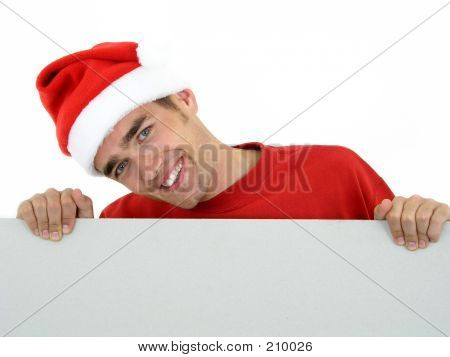 Young Santa Holding White Card