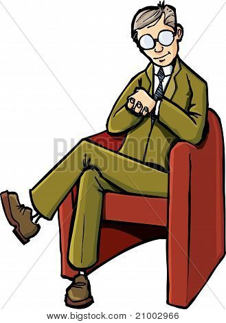 Cartoon Psychiatrist Sitting On His Chair