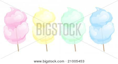 Candy floss in four different colours isolated on white. Also available in vector format.