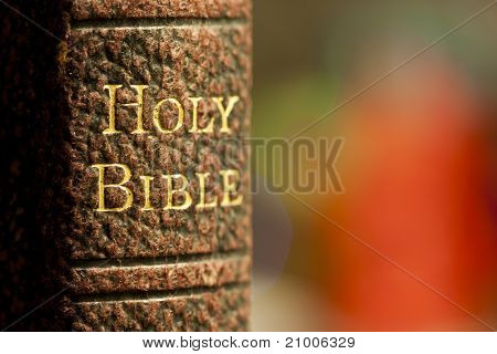 Closeup shot of the holy bible in gold letters on a leather bound book