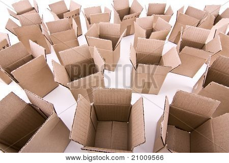 Many open cardboard boxes wide-angle view
