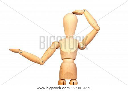 Jointed Wooden Mannequin Looking Something