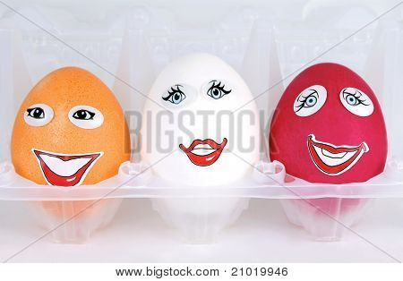 Three happy eggs