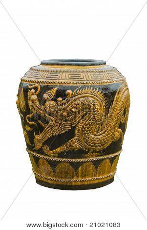 Water Jar Dragon Design On White Back Ground