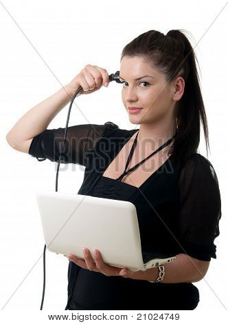 Young Woman Powercord Brain