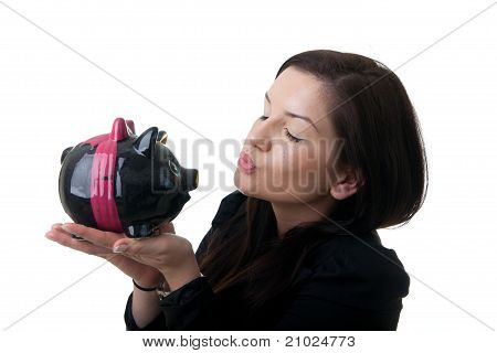 Young Woman Piggybank Kiss