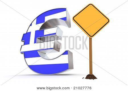 Euro con rótulo de advertencia amarillo - textura de bandera griega