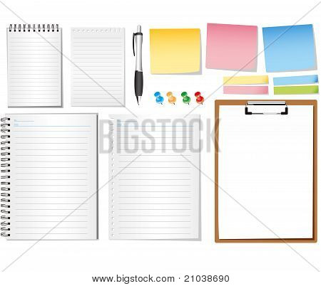 paper notes and memo stickers - vector illustration , all elements separated