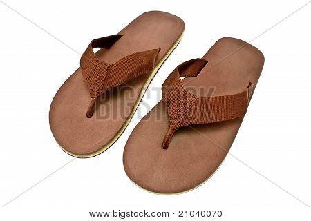 Pair Of Brown Men's Flip Flop Sandals
