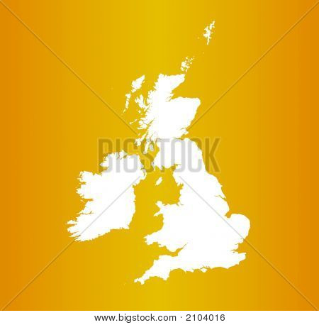 Map Of United Kingdom On Orange Gradient Background