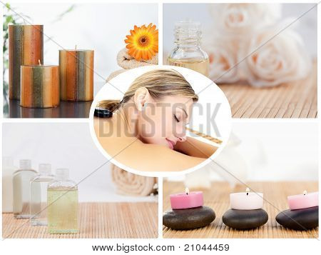 Collage Of Small Bottles With Candles And A Woman