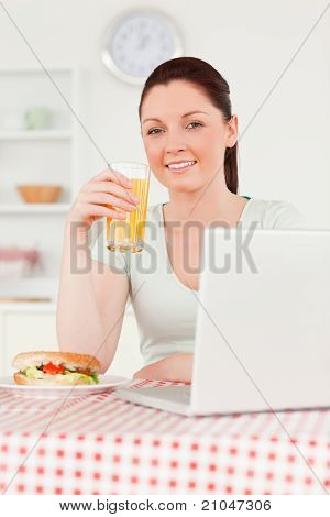 Smiling Woman Relaxing On Her Laptop And Posing While Drinking A Glass Of Orange Juice