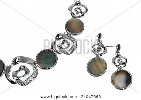 set of costume jewellery isolated on white, necklace and earrings