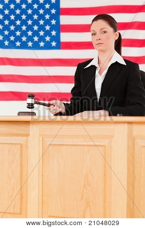 Portrait Of A Focused Judge Knocking A Gavel Looking At The Camera