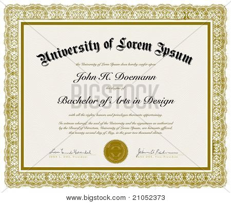Vector Ornate Diploma with Border. Easy to edit. Perfect for diplomas or other ornate designs