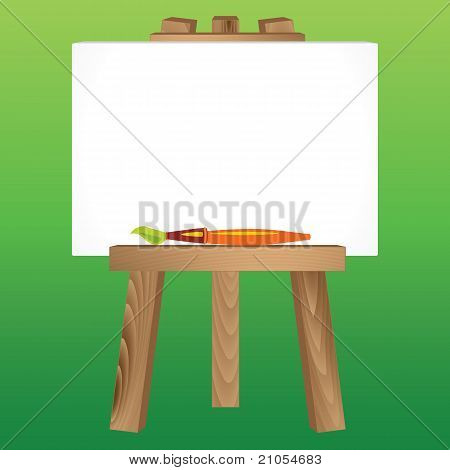 Wooden Easel, Canvas And Paintbrush