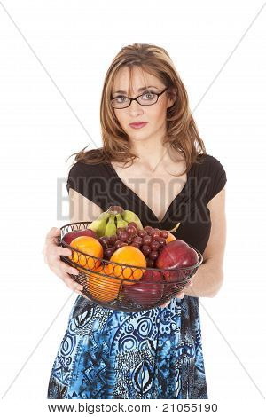 Woman In Glasses With Fruit Bowl