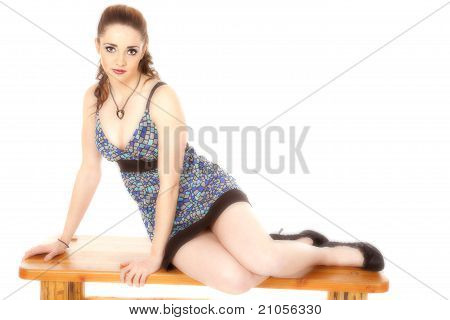 Woman Dress Side On Bench