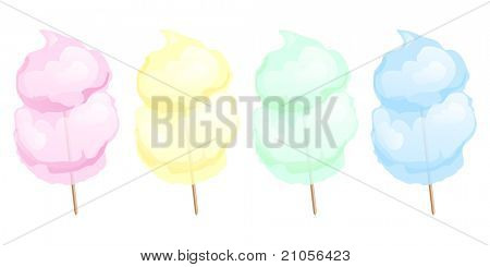 Candy floss in four different colours isolated on white. EPS10 vector format.