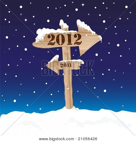 A wooden sign showing the way to 2012 from 2011. New Year's eve concept. EPS10 vector format.