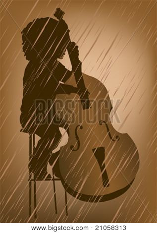 Vector drawing men to double bass at concert