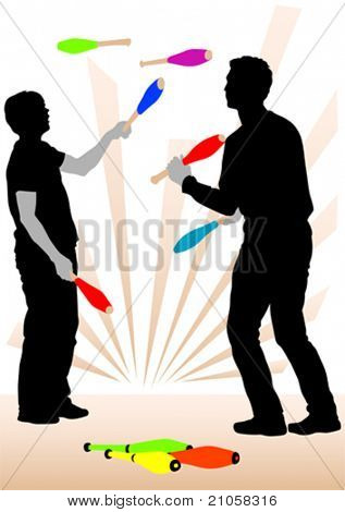 Vector image of jugglers on representation