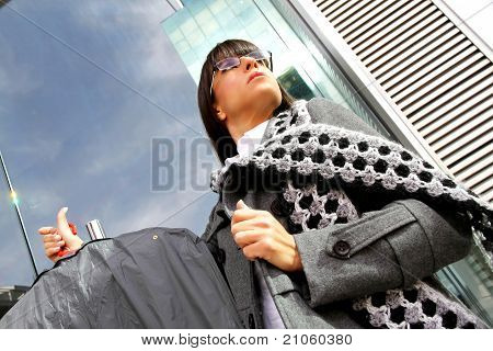 Business Woman Carrying Cloth