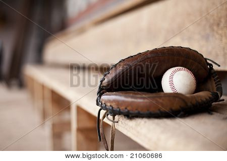 Baseball Glove in Dugout
