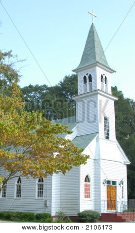 Bright White Church With Steeple