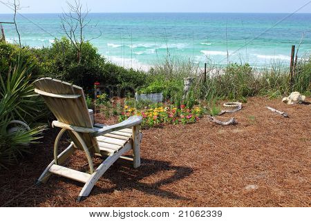 Chair And Flower Garden With Ocean View