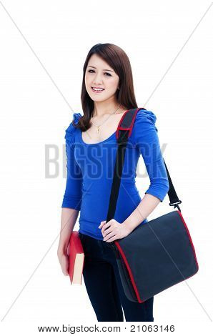 Happy Student Carrying Book And Bag