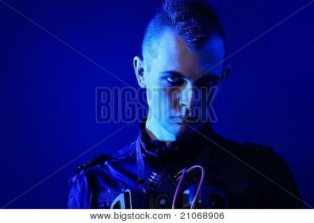 Shot of a gloomy skinhead man.
