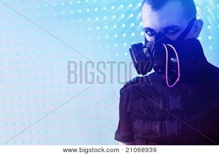 Shot of a conceptual man in a respirator.